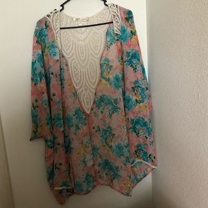 Floral cover up with lace backing